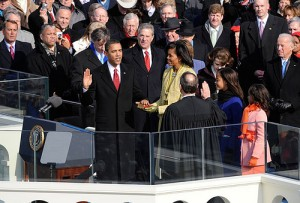 Barack Obama being sworn in as 44th President